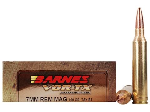 Barnes VOR-TX Ammunition 7mm Remington Magnum 160 Grain TSX Hollow Point  Boat Tail Lead-Free Box of 20