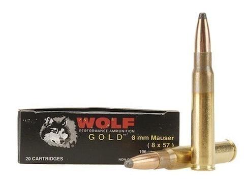 Wolf Gold Ammunition 8x57mm JS Mauser (8mm Mauser) 196 Grain Soft Point Box  of 20