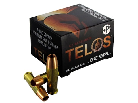 G2 Research Telos Ammunition 38 Special +P 105 Grain Controlled Fragmenting  Hollow Point Solid Copper Lead-Free Box of 20
