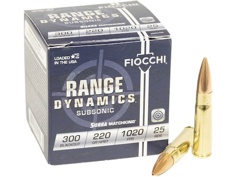 Fiocchi Exacta Ammunition 300 AAC Blackout Subsonic 220 Grain Sierra  MatchKing Hollow Point Boat Tail