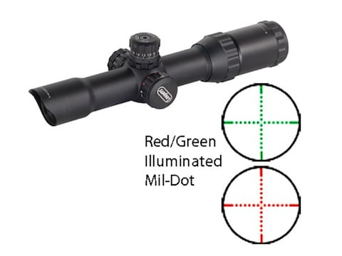 Leapers UTG AccuShot CQB Rifle Scope 30mm Tube 1-4x 28mm Red and Green  Illuminated Mil-Dot Reticle Matte