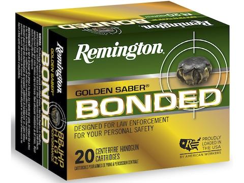Remington Golden Saber Bonded Ammunition 9mm Luger 124 Grain Jacketed  Hollow Point Box of 20