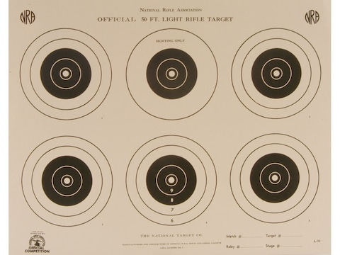 NRA Official Smallbore Rifle Targets A-32 50' Light Rifle Paper Pack of 100