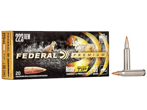Federal Premium Varmint Ammunition 223 Remington 55 Grain Nosler Ballistic  Tip Box of 20