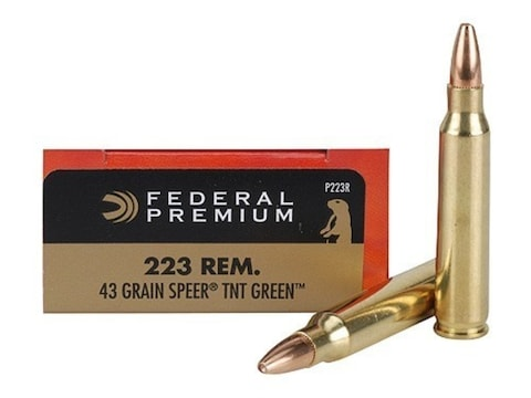 Federal Premium V-Shok Ammunition 223 Remington 43 Grain Speer TNT Green  Hollow Point Lead-Free Box of 20