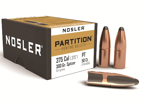 Nosler Partition Bullets 375 Caliber (375 Diameter) 300 Grain Spitzer Box  of 50