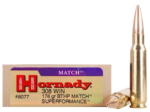 Hornady Superformance Match Ammunition 308 Winchester 178 Grain Hollow  Point Boat Tail Match Box of 20