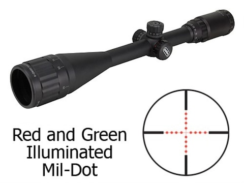 Leapers UTG TS Platform Rifle Scope 6-24x 50mm Adjustable Objective Red and  Green Illuminated Mil-Dot Reticle Matte