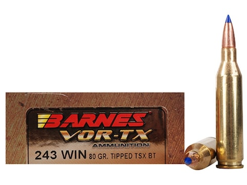 Barnes VOR-TX Ammunition 243 Winchester 80 Grain TTSX Polymer Tipped  Spitzer Boat Tail Lead-Free Box of 20