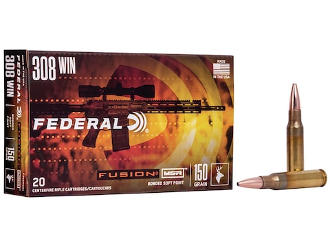 Federal Fusion MSR Ammunition 308 Winchester 150 Grain Spitzer Boat Tail  Box of 20