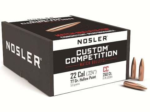Nosler Custom Competition Bullets 22 Caliber (224 Diameter) 77 Grain Hollow  Point Boat Tail