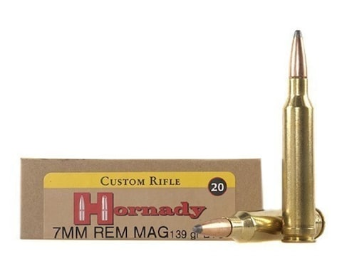 Hornady Custom Ammunition 7mm Remington Magnum 139 Grain InterLock Spire  Point Boat Tail Box of 20