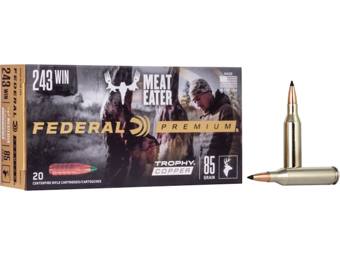 Federal Premium Ammunition 243 Winchester 85 Grain Trophy Copper Tipped  Boat Tail Lead-Free Box of 20