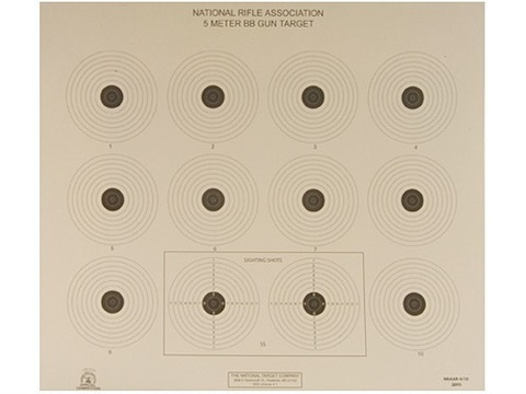 NRA Official Air Rifle Targets AR-4/10 5 Meter BB Gun Paper Pack of 100
