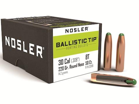 Nosler Ballistic Tip Hunting Bullets 30 Caliber (308 Diameter) 220 Grain  Round Nose Box of 50