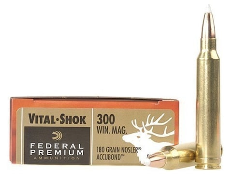 Federal Premium Vital-Shok Ammunition 300 Winchester Magnum 180 Grain  Nosler AccuBond Box of 20