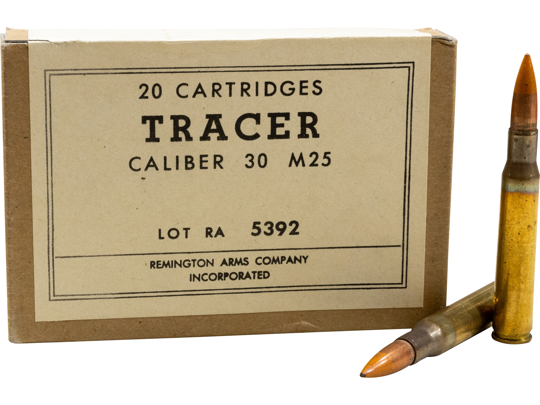 Military Surplus Tracer Ammunition (Remington) 30-06 Springfield 144 Grain  M25 Box of 20