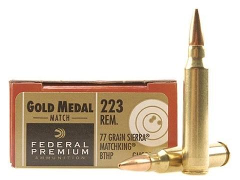 Federal Premium Gold Medal Ammunition 223 Remington 77 Grain Sierra  MatchKing Hollow Point Boat Tail