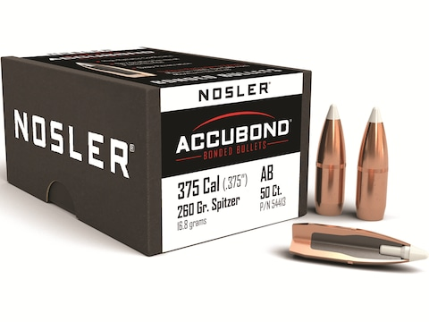 Nosler AccuBond Bullets 375 Caliber (375 Diameter) 260 Grain Bonded Spitzer  Boat Tail Box of 50