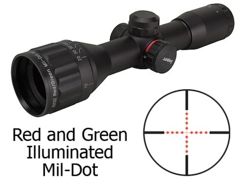 Leapers UTG TS Platform Mini Rifle Scope 6x 32mm Adjustable Objective Red  and Green Illuminated Mil-Dot Reticle Matte