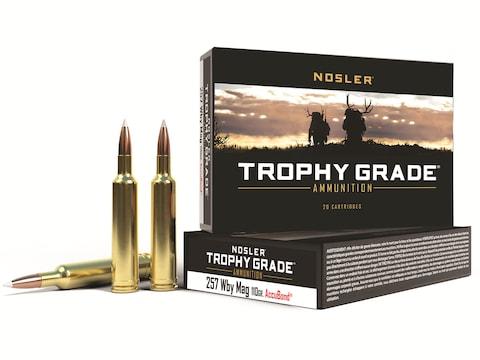 Nosler Trophy Grade Ammunition 257 Weatherby Magnum 110 Grain AccuBond  Spitzer Box of 20