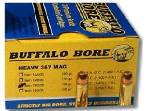 Buffalo Bore Ammunition 357 Magnum 158 Grain Semi-Jacketed Hollow Point  High Velocity Box of 20