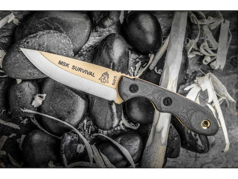 """TOPS Knives Mini Scandi Survival Fixed Blade Knife 3"""" Coyote Tan Drop Point 1095 High C..."""