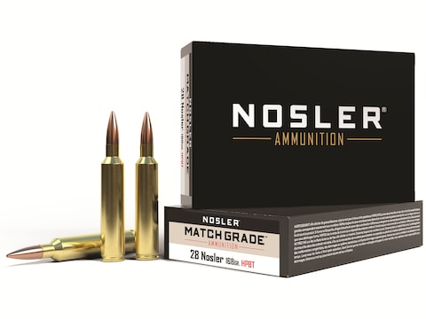 Nosler Match Grade Ammunition 28 Nosler 168 Grain Hollow Point Boat Tail Box of 20