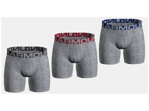 """Under Armour Men's UA Charged Cotton 6"""" Boxer Brief Pack of 3"""