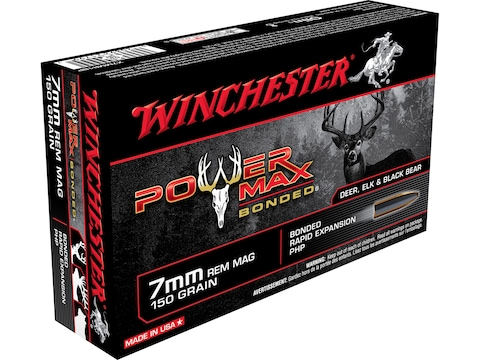Winchester Power Max Bonded Ammunition 7mm Remington Magnum 150 Grain Protected Hollow ...