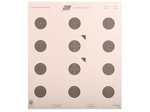 NRA Official Smallbore Rifle Targets USA/NRA-50 50-Foot Paper Pack of 100