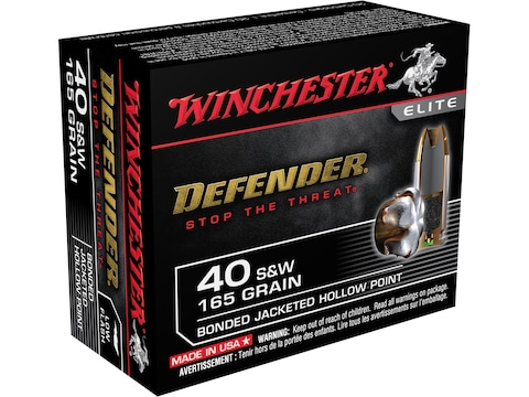 Winchester Defender Ammunition 40 S&W 165 Grain Bonded Jacketed Hollow Point Box of 20