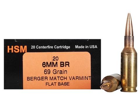 HSM Varmint Gold Ammunition 6mm BR (Bench Rest) 69 Grain Berger Varmint Hollow Point Fl...