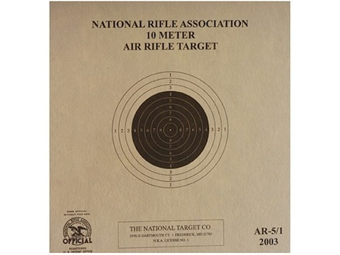 NRA Official Air Rifle Targets AR-5/1 10 Meter Air Rifle Paper Pack of 100