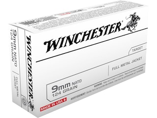 Winchester NATO Ammunition 9mm Luger 124 Grain Full Metal Jacket Box of 50