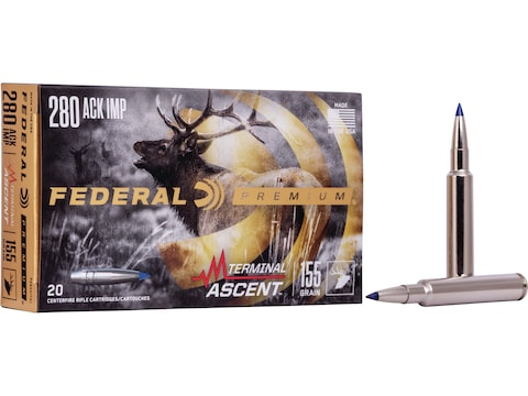 Federal Premium Terminal Ascent Ammunition 280 Ackley Improved 155 Grain Polymer Tip Bo...