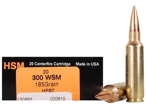 HSM Trophy Gold Ammunition 300 Winchester Short Magnum (WSM) 185 Grain Berger Hunting V...