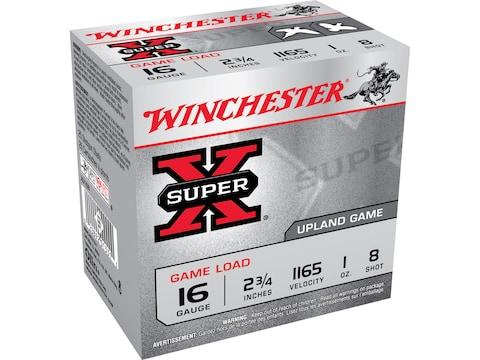 "Winchester Super-X Game Loads Ammunition 16 Gauge 2-3/4"" 1 oz #8 Shot Box of 25"