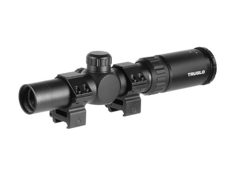 TRUGLO Turkey Shotgun Scope 30mm Tube 1-4x 24mm Circle MT Reticle with Rings Matte