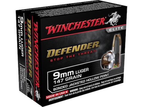Winchester Defender Ammunition 9mm Luger 147 Grain Bonded Jacketed Hollow Point Box of 20