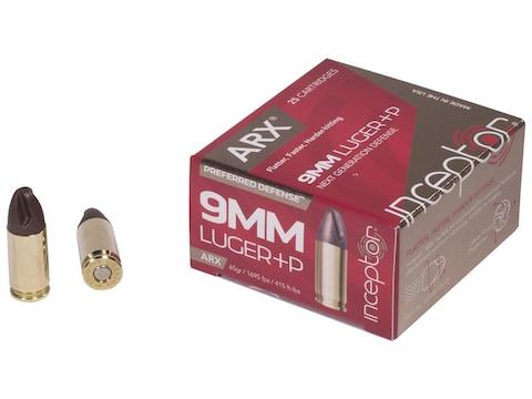 Inceptor Preferred Defense Ammunition 9mm Luger +P 65 Grain ARX Lead-Free