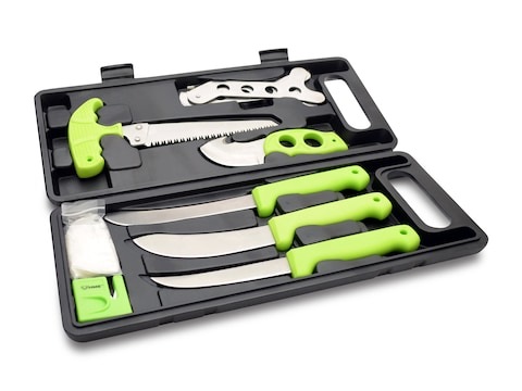 HME 9 Piece Field Dressing Kit Stainless Steel Blades Rubberized Handles Green
