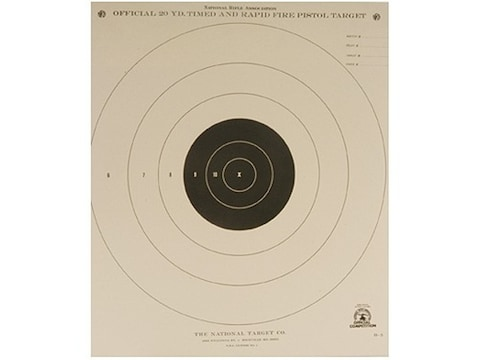 NRA Official Pistol Targets B-5 20 Yard Timed and Rapid Fire Paper Pack of 100