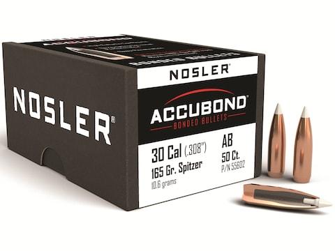 Nosler AccuBond Bullets 30 Caliber (308 Diameter) 165 Grain Bonded Spitzer Boat Tail Bo...