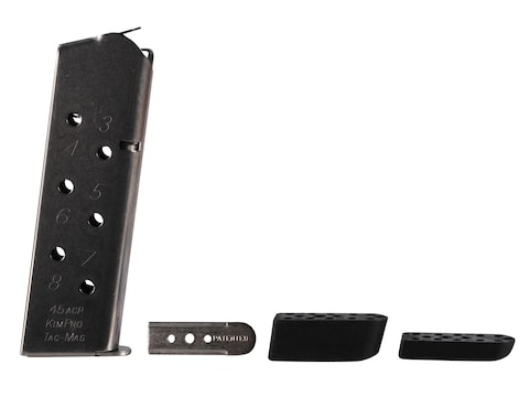Kimber Kim-Pro Tac-Mag Magazine with 3 Base Pads 1911 Government, Commander 45 ACP Stai...