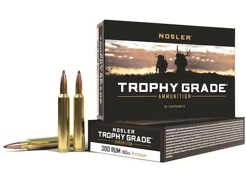 Nosler Trophy Grade Ammunition 300 Remington Ultra Magnum 180 Grain Partition Spitzer B...