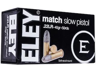 Eley Match Pistol Ammunition 22 Long Rifle 40 Grain Lead Round Nose Box of 50