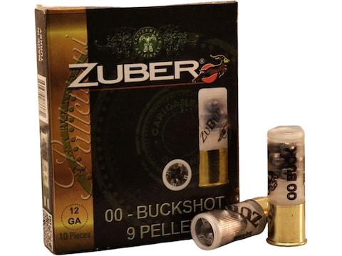 "Zuber Ammunition 12 Gauge 2-3/4"" 00 Buckshot 9 Pellets"