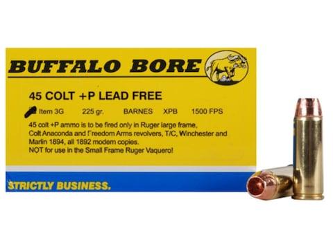 Buffalo Bore Ammunition 45 Colt (Long Colt) +P 225 Grain Barnes XPB Hollow Point Lead-F...