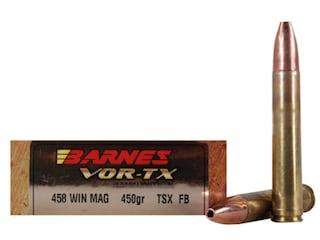 Barnes VOR-TX Ammunition 458 Winchester Magnum 450 Grain Triple-Shock X Bullet Flat Base Lead-Free Box of 20